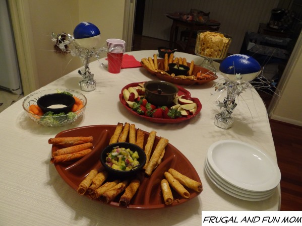 Football Game Table Set-up with Decorations and El Monterey Taquitos