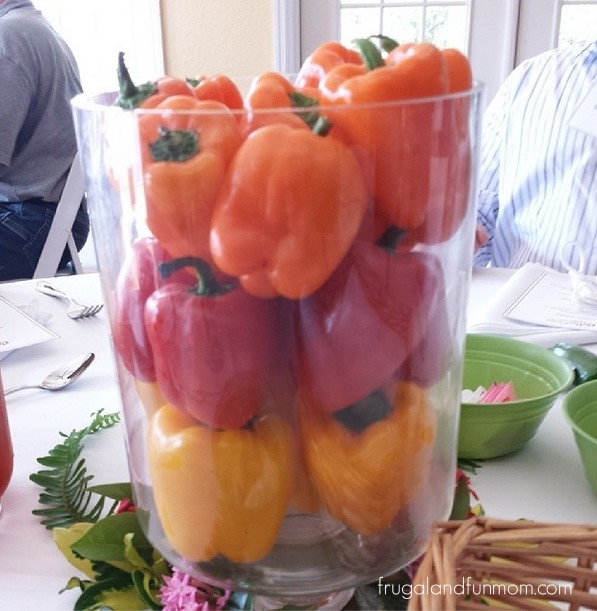 Centerpieces made with colorful peppers
