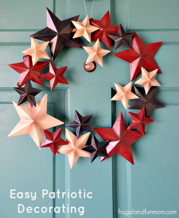 Easy Patriotic Decorating Oriental Trading Wreath #DIY #RedWhiteBlue #Patriotic #July4th