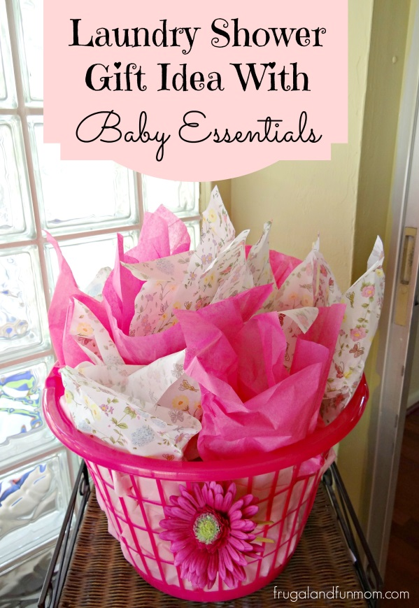 baby shower gift idea with essentials in a laundry basket  fun, Baby shower invitation