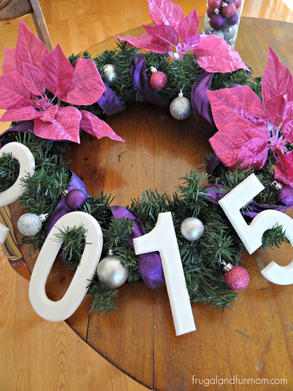 New Years Wreath with Purple Pink and Gray