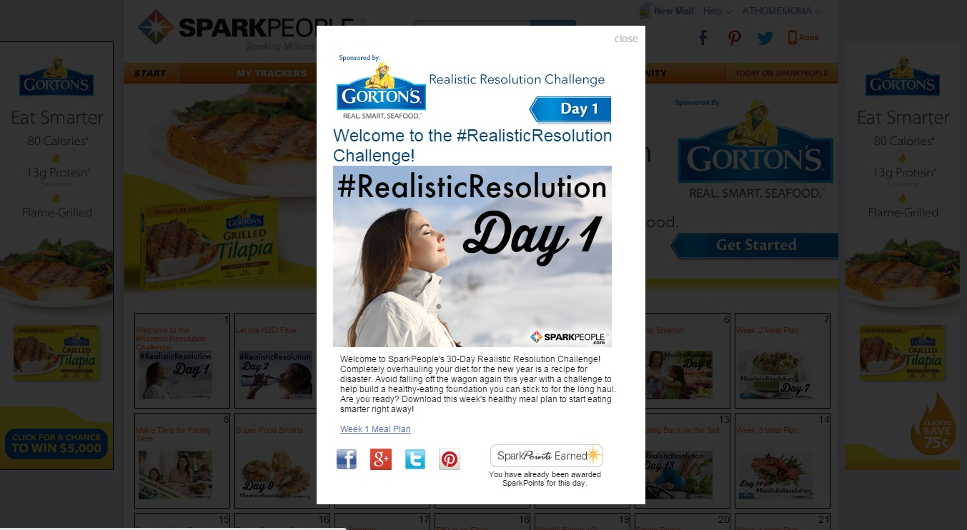 Gortons Seafood 30 Day Realistic Resolution Challenge Spark People