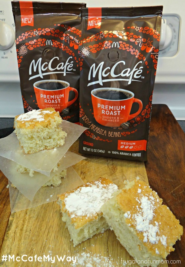 Banana Sour Cream Squares and McCafe Cofee