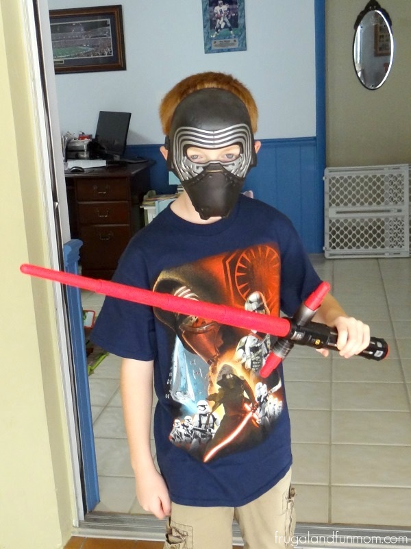 Dressed up as Kylo Ren with Mask and Lightsaber from Kohl's