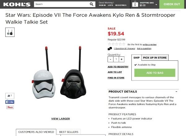Star Wars Episode VII The Force Awakens Kylo Ren & Stormtrooper Walkie Talkie Set