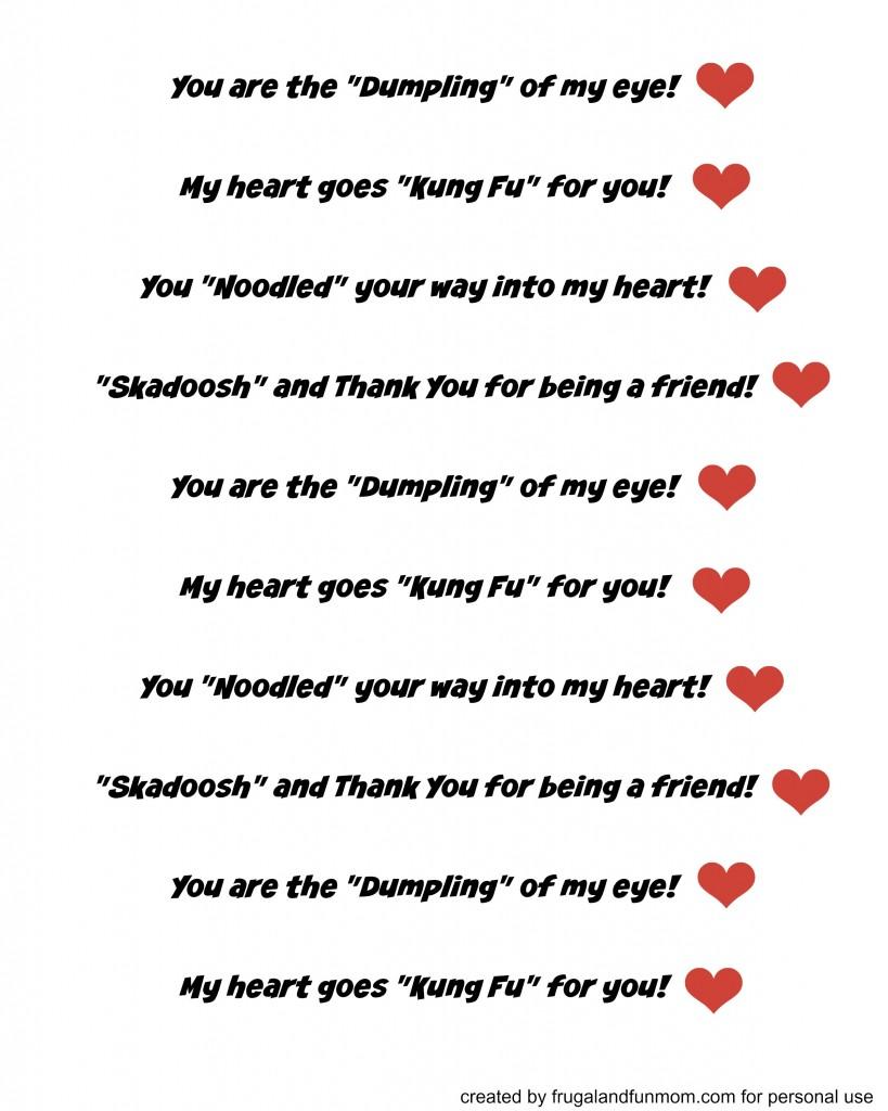 Kung Fu Panda Valentine Sayings