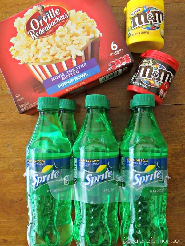Make it a Movie Night with M&M'S Chocolate Candies, Orville Redenbacher Movie Theater Popcorn, and Sprite 6.9 ounce bottles