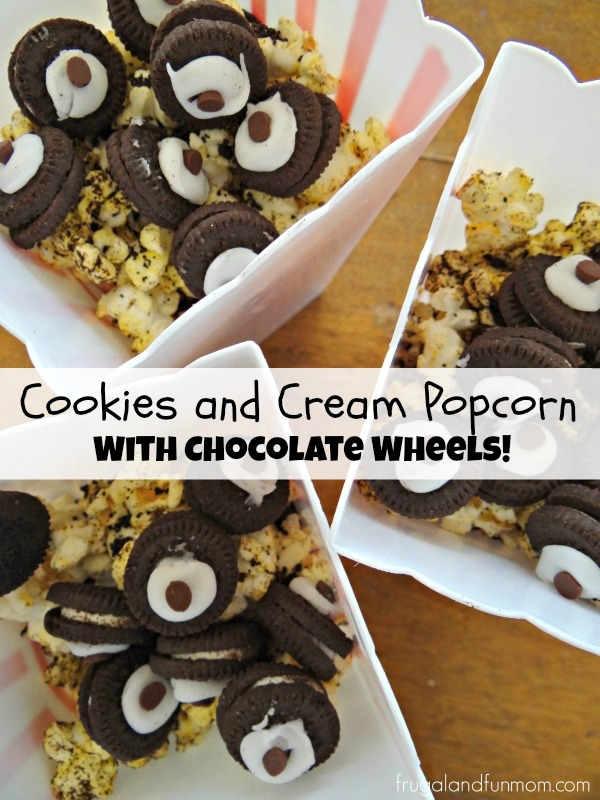 Cookies and Cream Popcorn and Chocolate Wheels