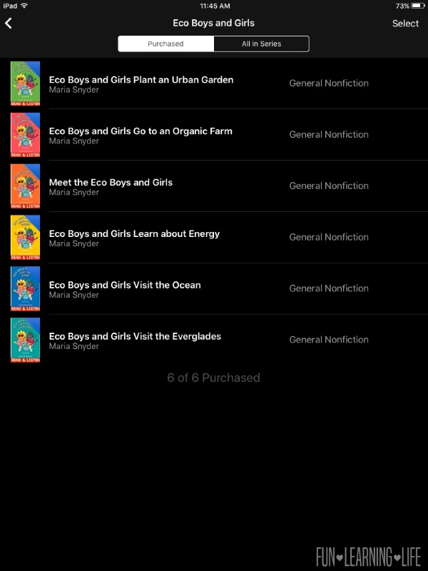 Eco Boys and Girls Books purchased from the iTunes Store