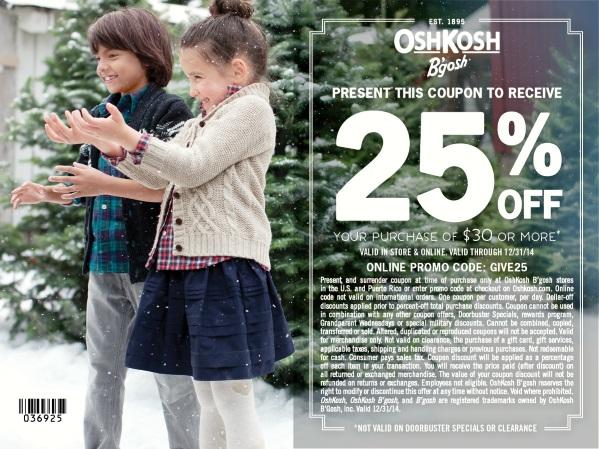 Osh Kosh BGosh 25 off coupon