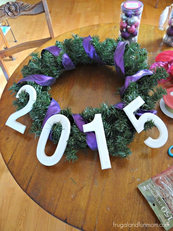 New Years Wreath in process