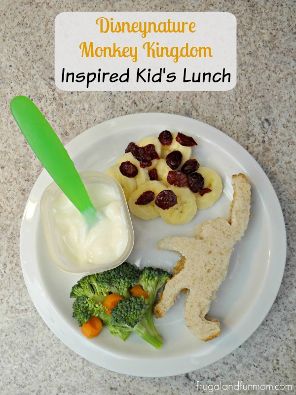 Monkey Kingdom Inspired Lunch with fruit, vegetables, and sandwich