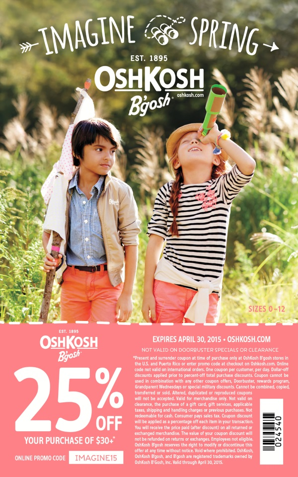 OshKosh BGosh Spring 25 percent off Coupon