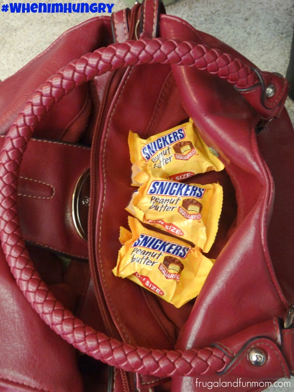 Snickers Peanut Butter Squares inside Purse