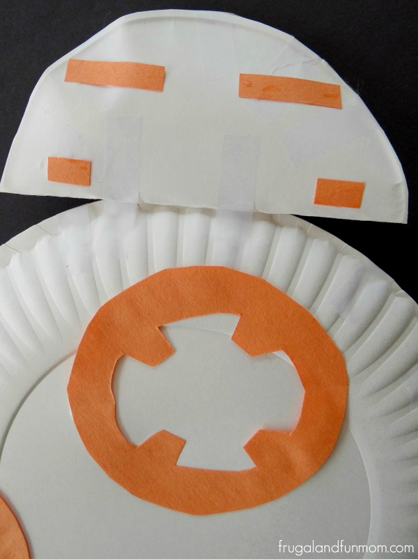 Paper Plate Star Wars Inspired BB-8 Robot in process