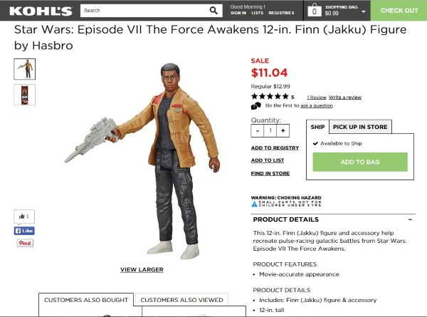 Star Wars Episode VII The Force Awakens 12-in. Finn (Jakku) Figure by Hasbro