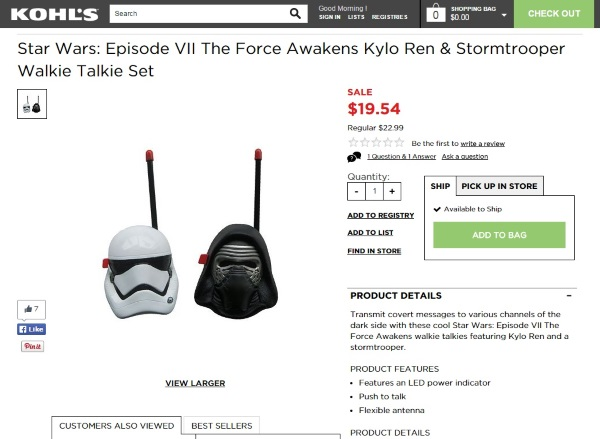 Star Wars Episode VII The Force Awakens Kylo Ren & Stormtrooper Walkie Talkie Set
