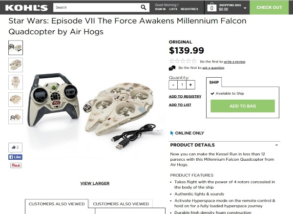 Star Wars Episode VII The Force Awakens Millennium Falcon Quadcopter by Air Hogs