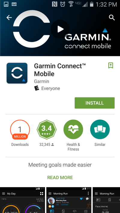 Garmin Connect Mobile App for vívoactive