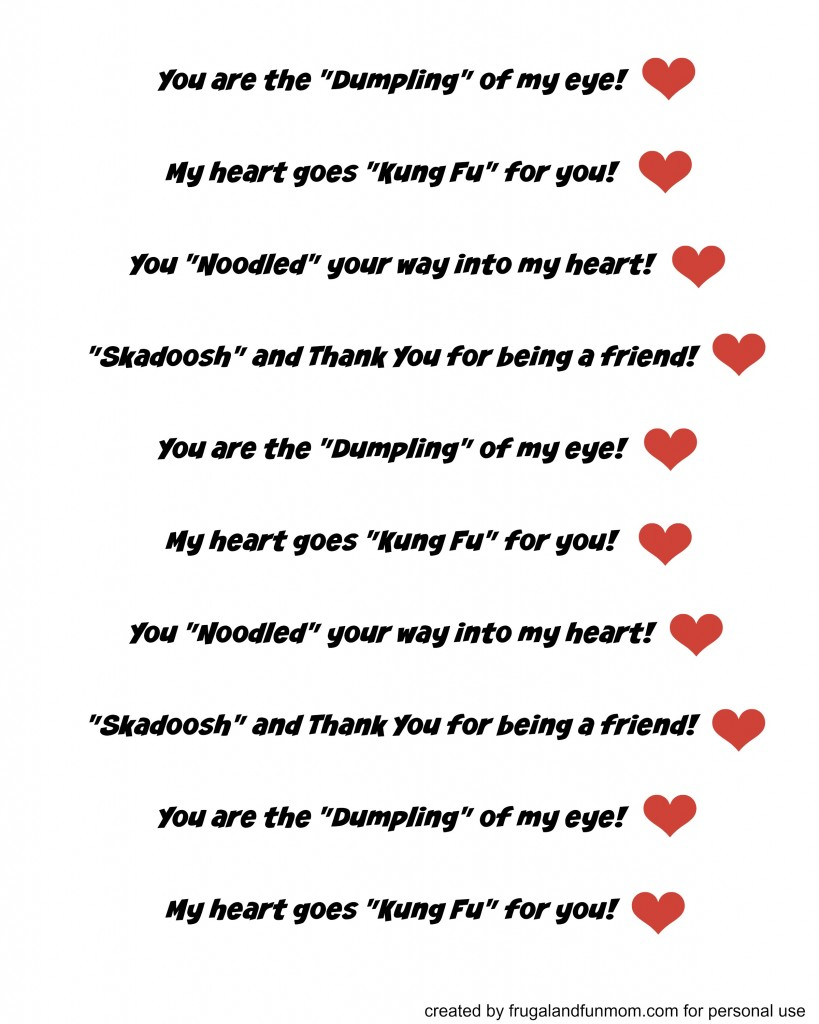 Kung Fu Panda Valentine Sayings