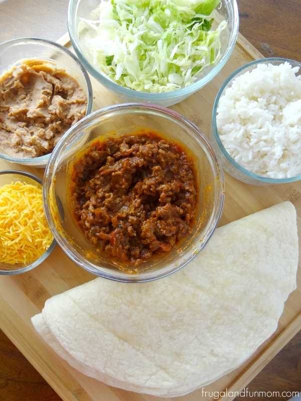 What you need for Sloppy Joe Burritos