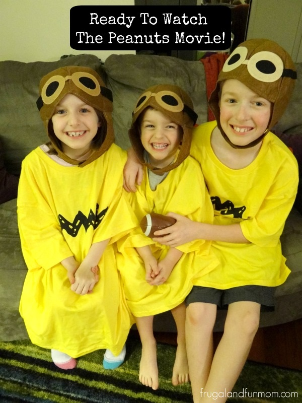 Watching The Peanuts Movie in Charlie Brown Shirts