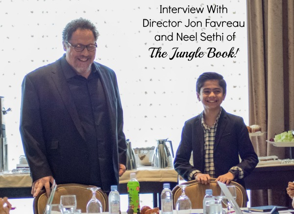 "BEVERLY HILLS - APRIL 04 - Actor's Jon Favreau & Neel Sethi during the ""The Jungle Book"" press junket at the Beverly Hilton on April 4, 2016 in Beverly Hills, California. (Photo by Becky Fry/My Sparkling Life for Disney)"